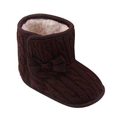 wknot Weiche Sohle Winter Warme Schuhe Stiefel Lauflernschuhe Schlupfstiefel Coffee,6-12 Monate ()