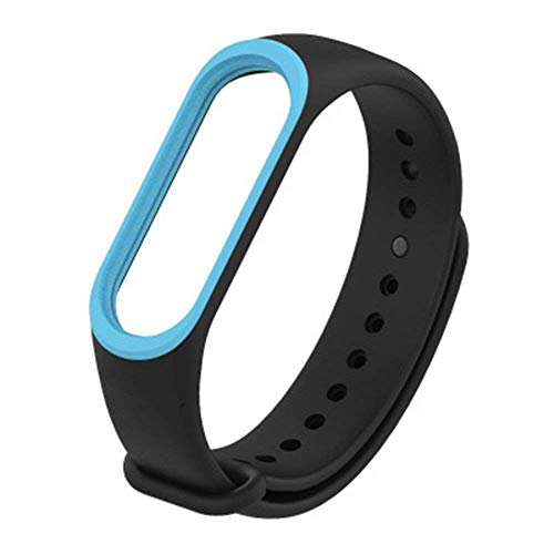 Iloft® Dual Color Stylish Replacement Silicone Accessories Strap Soft Bracelet Band for Xiaomi Mi Band 3 Smart Band (Black Blue)