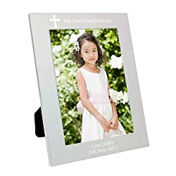 Personalised Cross Design 7x5 Frame - FREE ENGRAVING - Perfect for Confirmation, Holy Communion, Baptism, Christening, Weddings