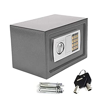 Safe Box High Security Steel Lock Safes and Lock Boxes, Money Box, Safety Boxes Jewelry Cash Gun Box for Home,Office, Digital Safe Box, Steel Alloy Drop Safe, Includes 2 Emergency Keys