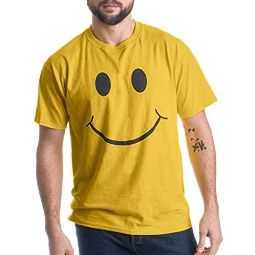 Crazboy Herren Sommer Mode Lässig Brief Einfarbig Druck T-Shirt Kurzarm Bluse(Large,Gelb)