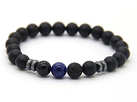 GOOD.designs Chakra-bracelet de perles d'énergie, Chakra-pendentif, Pierre de protection Onyx - Perle de 8mm