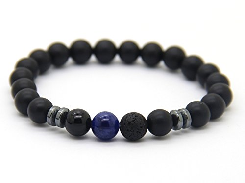 GOOD.designs Chakra-Perlenarmband aus Onyx-Lava-Natursteinen, Energiearmband mit blauer Jaspis-Weltkugel