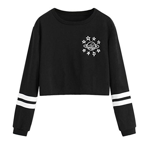 Morwind Sweat à Capuche Femme, Round Neck Noir T-shirt Pullover sweatshirt hoodies crop Top Noir