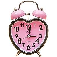 VORCOOL Despertador Clásico con Doble Campana Reloj en Forma de Corazón con Luz Nocturna con Fuerte Alarma (Rosa)