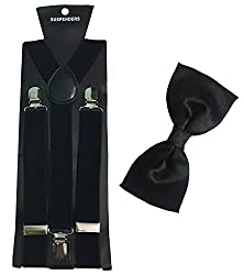 Atyourdoor Black Suspender and Black Bow Tie for Men(Combo Pack)