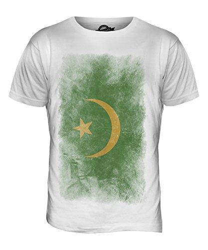 CandyMix Mauretanien Verblichen Flagge Herren T Shirt Weiß