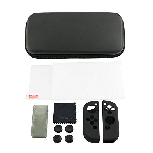 Nintendo Switch Zubehör-Set - Durovis Gaming - Starter Kit: Schwarze Hardcover Tasche...