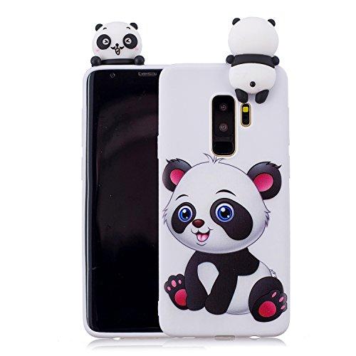 re Hülle für Samsung Galaxy S9 Plus, Samsung Galaxy S9 Plus Niedlich Süß Motiv Handyhülle Schlank Weich Flexibel Gummi Silikon Schutzhülle Stoßfest Rückseite-Weiß Panda ()