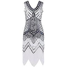 femirah Mujer 1920s inspirado lentejuelas adornado Fringe largo Gatsby vestido de flecos vestido de cóctel, blanco