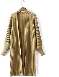 Linterna manga Vestido Nuevo Color puro largo vertical Bar Cardigan Sweater