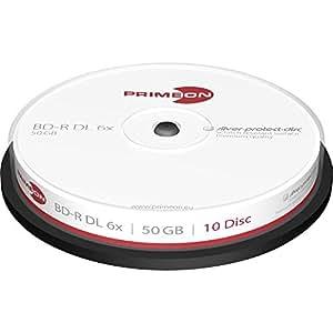 Primeon 2761305(Go BD-R DL 50Go 6x Cakebox, axe, Lot de 10)