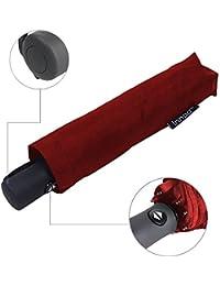 Innoo Tech Paraguas de Viaje Plegable Automático Portátil 55MPH Diseño Clásico Ligero 8 Varillas Contra Viento Tela Impermeable UPF>50 Color Vino Tinto
