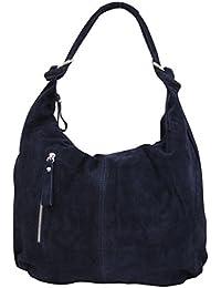 AMBRA Moda Damen Wildleder Schultertasch Damen Handtasche Hobo-Bags Shopper Beuteltaschen Veloursleder Suede Ledertasche DIN-A4 42cm x 35cmx 4cm WL803