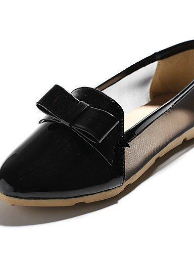 ShangYi gyht Scarpe Donna-Ballerine-Casual-Comoda / A punta-Piatto-Finta pelle-Nero / Rosa / Bianco Black