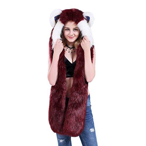 3 in 1 LED Unicorn Hut Schal Handschuhe Kunstpelz mit bunten LED Licht einteiligen Hut (Red Fox) (Pelz Fox Red)