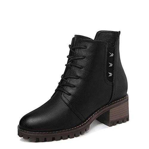 Short boots Martin stiefel Neutral Front lace-up Trendy-schwarz Fußlänge=21.8CM(8.6Inch) (Stiefel Herren Zip Kleiden)