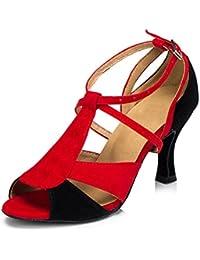 misu - Zapatillas de danza para mujer Multicolor negro/rojo, color multicolor, talla 40 2/3