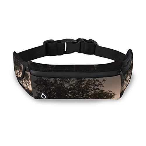FANTAZIO Cinturón Delgado para Correr con diseño de Leopardo para Descansar en el árbol, con riñonera para ejercitar la Cintura, para teléfono