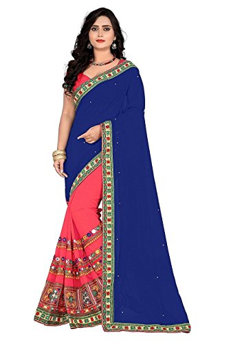 Sunshine Fashion Women's Georgette & Georgette Saree With Blouse Piece (Green, Red_FREESIZE)