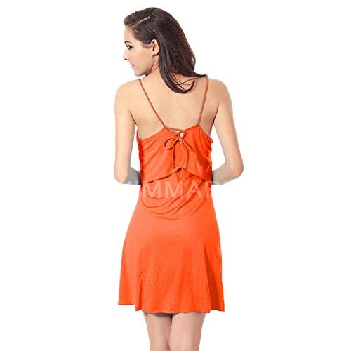 andyshi Frauen Sexy Back Kreuz Kabelbinder Cover-Up Volants Top Neckholder Strand Kleid Orange