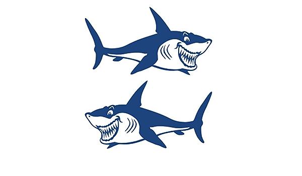 Gazechimp 2 Stück Haifisch Aufkleber Hai Sticker Für Kajak Kanu Fischerboot Auto Badezimmer Wand Surfboard Dekoration Sticker Auto