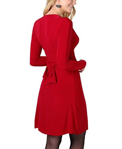 KRISP® Umstandsmode Knoten Kleid Langarm Gerafft Gebunden Dunkelrot (9878)