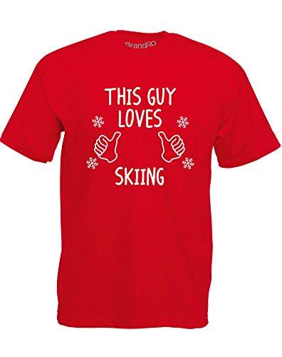 Brand88 - This Guy Loves Skiing, Mann Gedruckt T-Shirt Rote/Weiß