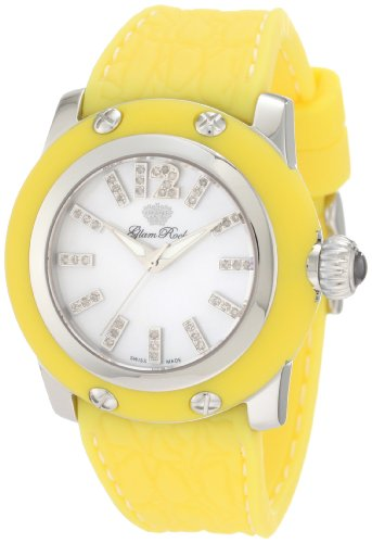 Glam Rock Women's Palm Beach 40mm Yellow Silicone Band Steel Case Swiss Quartz MOP Dial Watch GR40304YYF