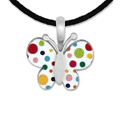 Silberwerk, Anhänger mit veganem Lederband, LITTLE FRIENDS; Schmetterling weiß/bunt 15x17mm