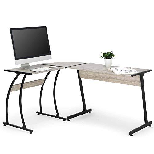 VonHaus Eckschreibtisch Computertisch Metallbeine L-förmig - MDF & Laminatfurnier - Für Home Office / als Schreibtisch, Bürotisch, Workstation, Arbeitsplatz, Spieltisch -