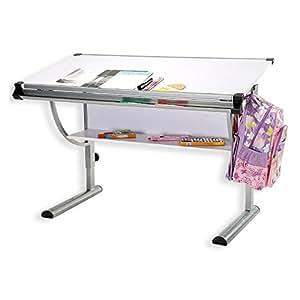 Kinderschreibtisch Schülerschreibtisch CINDY, höhenverstellbar und neigungsverstellbar, in weiß, stabiles Metallgestell