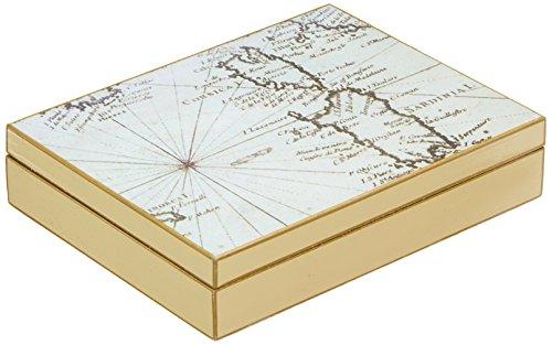 fundashop fcpv22-Box Manschettenknöpfe, Motiv Weltkarte, Holz, Elfenbein und Beige