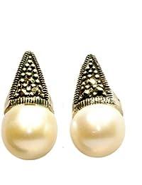 454326f90c47 Pendientes Lady Di con perla cultivada y marquesita Plata de Ley 925
