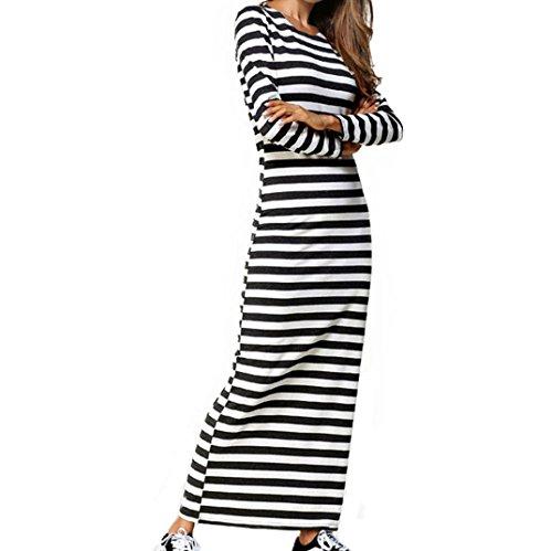 Kleider , Frashing Frauen Clubwear Party Langarm gestreiften Casual Knöchel-Länge Etuikleid Damen Sommerkleid Langarm Floral Print Böhmischen Strand Maxi Kleid (2XL, Weiß) (Knöchel-länge-strand-kleid)