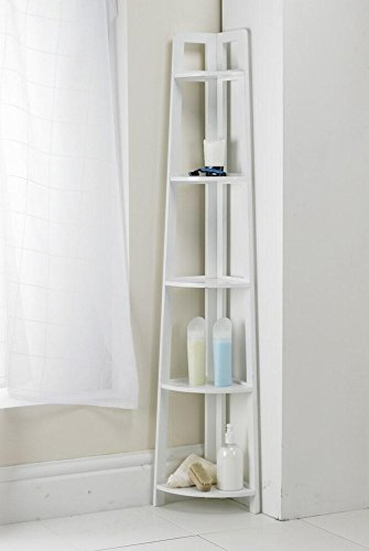 White 137cm 5 tier corner shelving unit home bathroom - White bathroom corner shelf unit ...