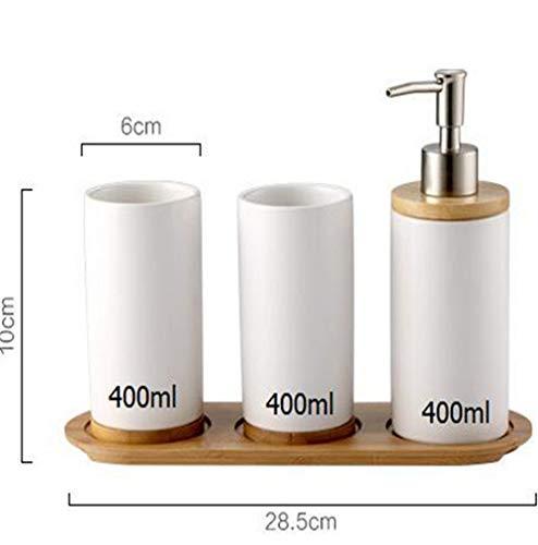 Amgend Förderung Bad Set Keramik Mundschale Zahnbürstenhalter Lotion Flasche Für Zahnpasta Bambus Lagerung Bord -