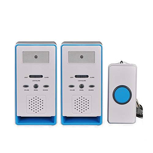 ALEENFOON Haus Wireless Mobiler Alarm Notruf Knopf Hausnotruf Panikalarm Funkalarm für Pflegebedürftige Geduldig Älterer Mann (Blau, 2 in 1)