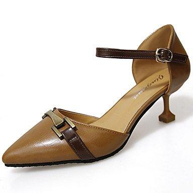 Lvyuan-ggx Talon En Cuir Pour Femmes Summer Footing Plus De Matières A Stiletto Black Beige Brown 5 - 7 Cm Brown