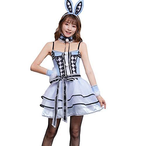 Playboy Kostüm Party - HJG Frauen Häschen Cosplay Holloween Kleid, Frauen Sexy Outfit Erwachsene Playboy Smoking Kaninchen Kellnerin Tier Kostüm, Rollenspiel Party,XL