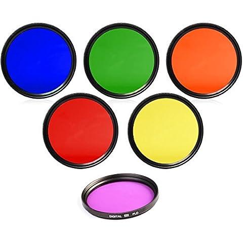 {6er-Pack} Filter kit für GoPro Actionkamera HERO4, HERO3+, Hero3 Black, Silver, White, Motorsport, Surf, Outdoor, Slim Adventure, Edition (ohne Gehäuse) Kit inkl: Gelb, Lila, (FLD) Orange, Grün, Blau, Rot Filters mit Filter-Adapter mit Objektivfrontdeckel