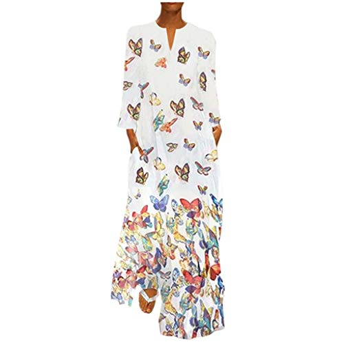 DQANIU Frauen Kleid, Frauen Frühling/Herbst Plus Size Vintage Böhmen Welle Punkt Print Kleid Langarm Oansatz Maxi Party Kleid -