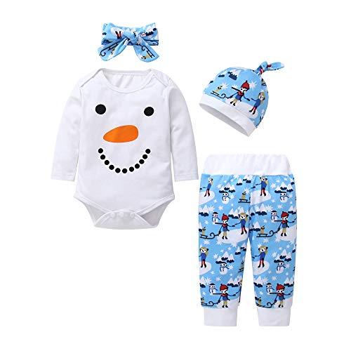 d620d01076edf Robemon✬Hiver Ensemble Bébé Fille Garçon Vêtement Manches Long Mignon  Snowman Smile Salopettes+Pantalon