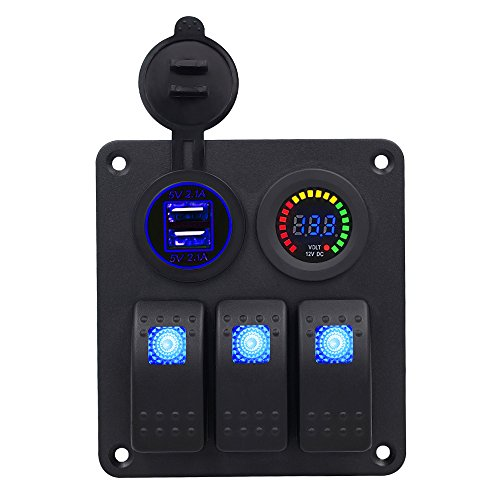 BlueFire 3 Gang LED Rocker Switch Panel + 2 USB 4.2A Charger Socket + DC 12V voltmeter Monitor for Marine Boat Car Rv Vehicles Test