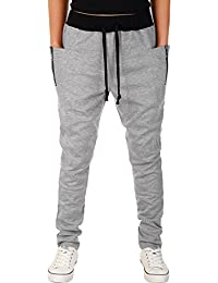 HEMOON Homme Pantalon de sport/jogging Sarouel Fitness Loose pants Zip