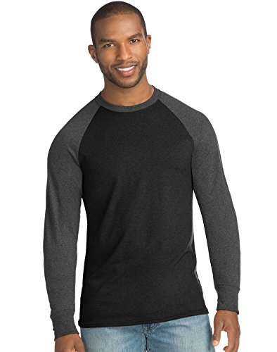 Hanes Mens X-Temp w/Fresh IQ Crewneck Long Sleeve Colorblock T-Shirt