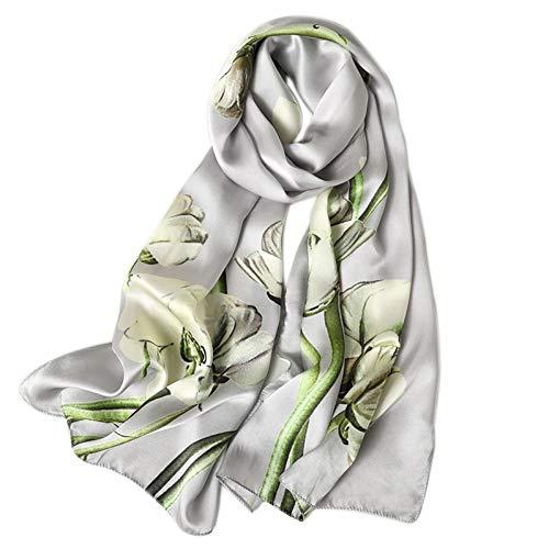 TLXOZ Hochwertige echte Seidenschal Damenmode floral Bedruckte Schals und wickelt Lange weiche Foulard Damen Halstücher