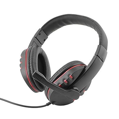Gaming Headset - LESHP cuir USB filaire Microphone casque stéréo micro Écouteur de jeu (Noir)