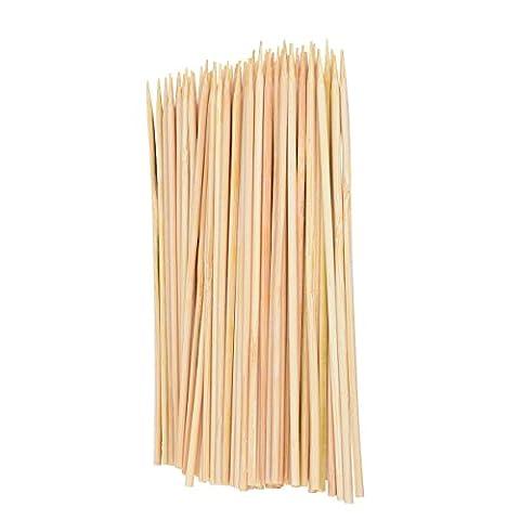 Baguettes de bambou brochettes 20,3cm 3mm d'épaisseur pour barbecue, amuse-gueules, griller, ou Fondue, Tankerstreet BBQ brochettes Veggie Bâtons de fruits, chevilles en bois pour l'artisanat, environ 100pièces Lot 6 Inches comme sur l'image
