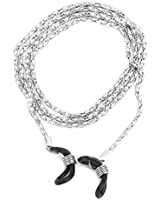 Decorative Metal Eyeglass Glasses Spectacles Chain Holder Neck Cord (Silver)